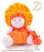Orange rag doll the Bigfoot  Buñuela - 23 cm