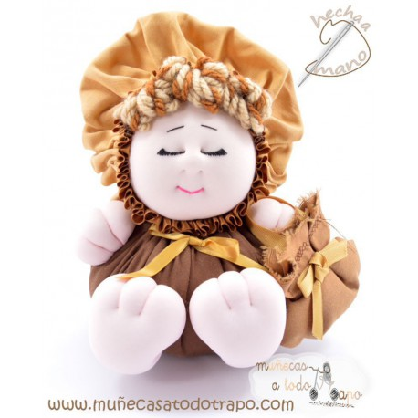 La Buñuela Marrón Bigfoot - Muñeca de trapo - 23 cm