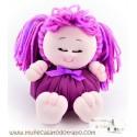 Pigtails rag doll the lilac Buñuela Bigfoot - 23 cm