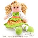 Waldorf rag doll green - Lina - 35cm.