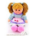 Rag doll Waldorf - Lina wiht blue squeares - 35 cm.