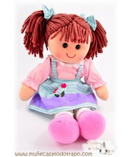 Waldorf rag doll - Lina blue and pink - 35 cm.
