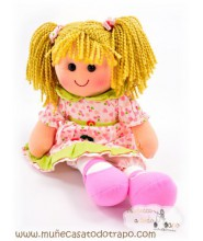 Waldorf rag doll with ping hearts - Lina - 35 cm.