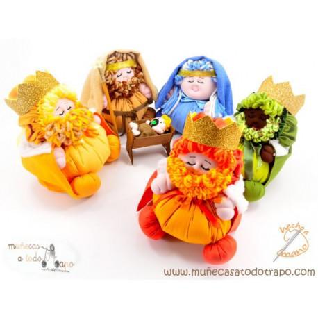 Portal de Belén con Reyes Magos - Muñecos de trapo
