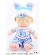 Muñeco de trapo - Niño azul - 28 cm