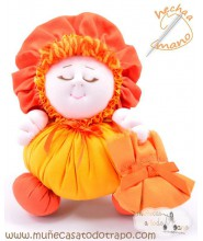 Orange rag doll the Buñuela - 23 cm