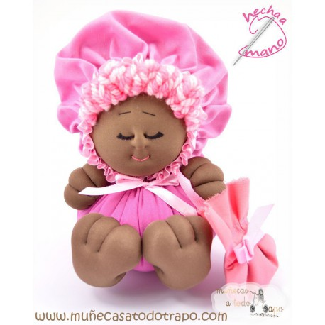 La Buñuela Rosa Bigfoot - Muñeca de trapo negra - 23 cm