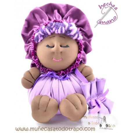 La Buñuela Lila Bigfoot - Muñeca de trapo negra - 23 cm
