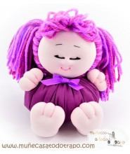 Pigtails rag doll the lilac Buñuela Bigfoot - 23 cm