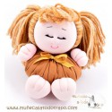 Rag doll with pigtails the brown Buñuela Coletitas - 23 cm