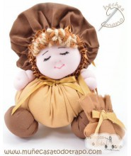 Brown rag doll the Buñuela - 23 cm