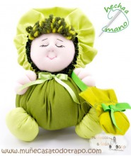 Green colth doll the Buñuela - 23 cm