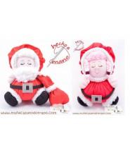 Pareja Papá y Mamá Noel de trapo -  Las Buñuelas de Navidad