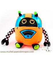 Muñeco de Peluche Robot Naranja y Azul - 25 cm