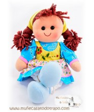 Waldorf rag doll with blue scarf - Lina - 35 cm.