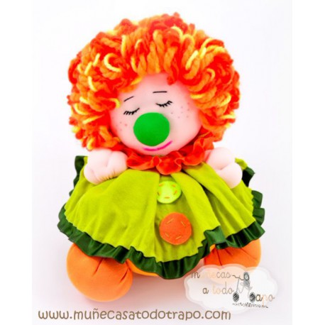 La Buñuela Payasete Naranja y Verde - 23 cm