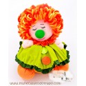 The Orange and Green clown rag doll - 23 cm